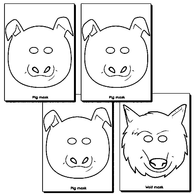 3 Little Pigs And Wolf Mask Coloring Page 1