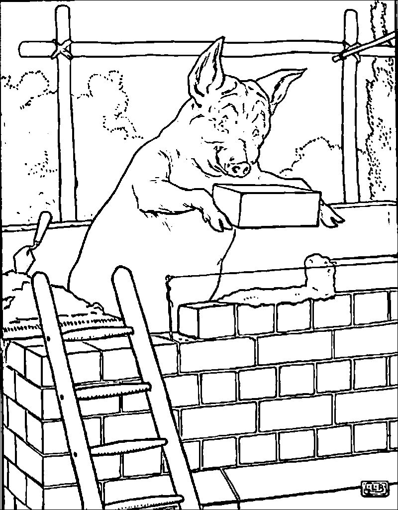 3 Little Pigs Brick Coloring Page