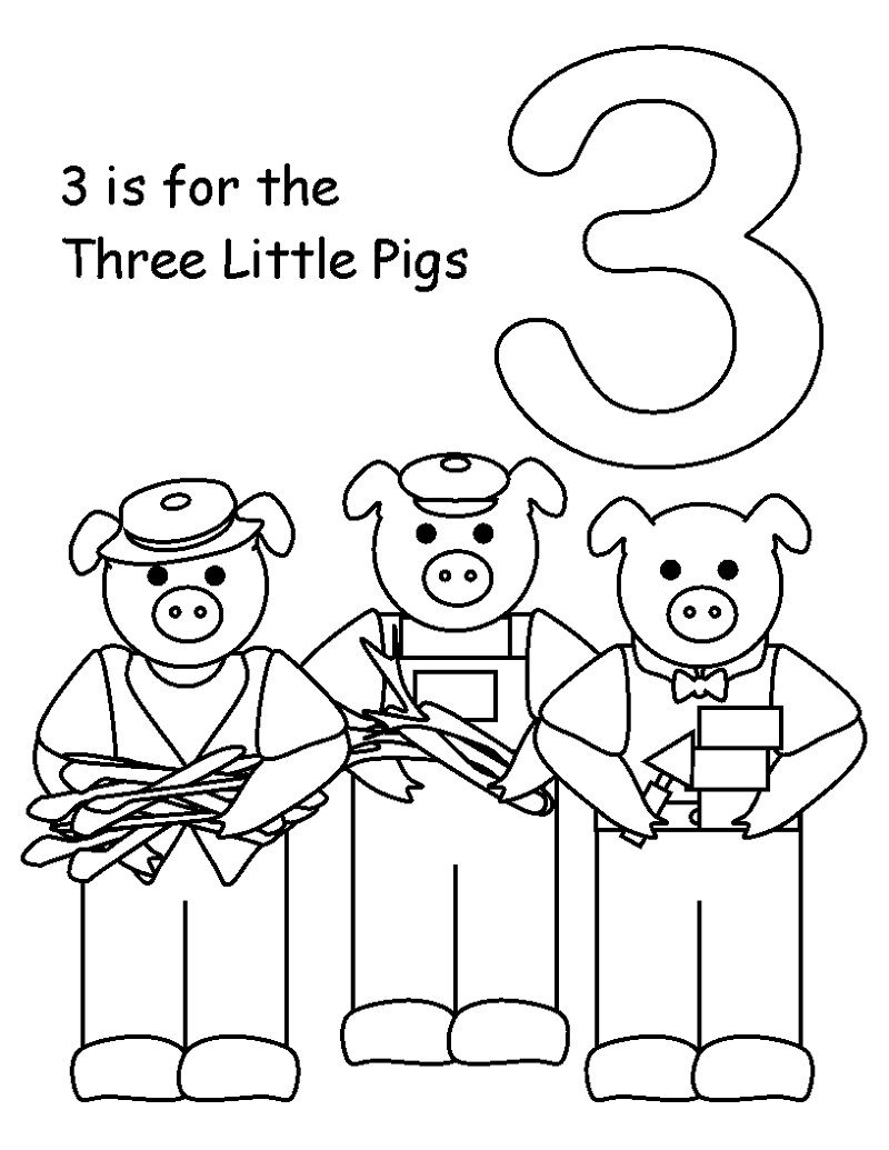 3 Little Pigs Coloring Pages For Preschoolers Printable