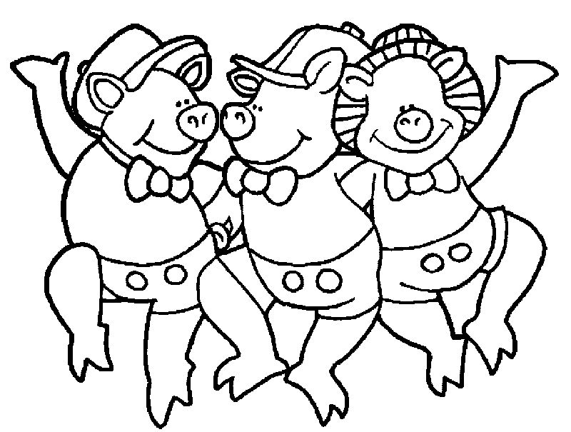 3 Little Pigs Dance Coloring Page