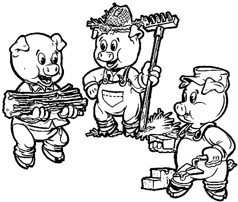 3 Little Pigs Farmers Coloring Page