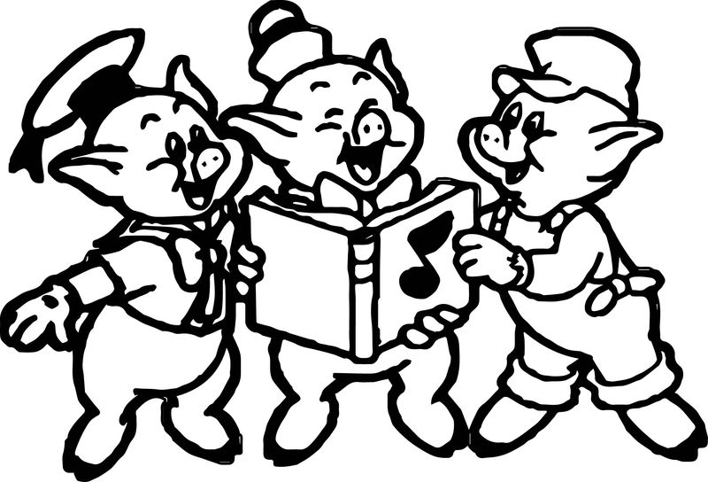 3 Little Pigs Happy Coloring Page