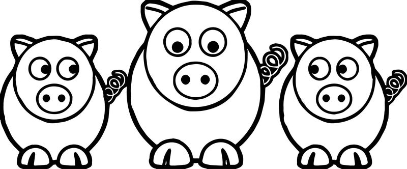3 Little Pigs Look Coloring Page