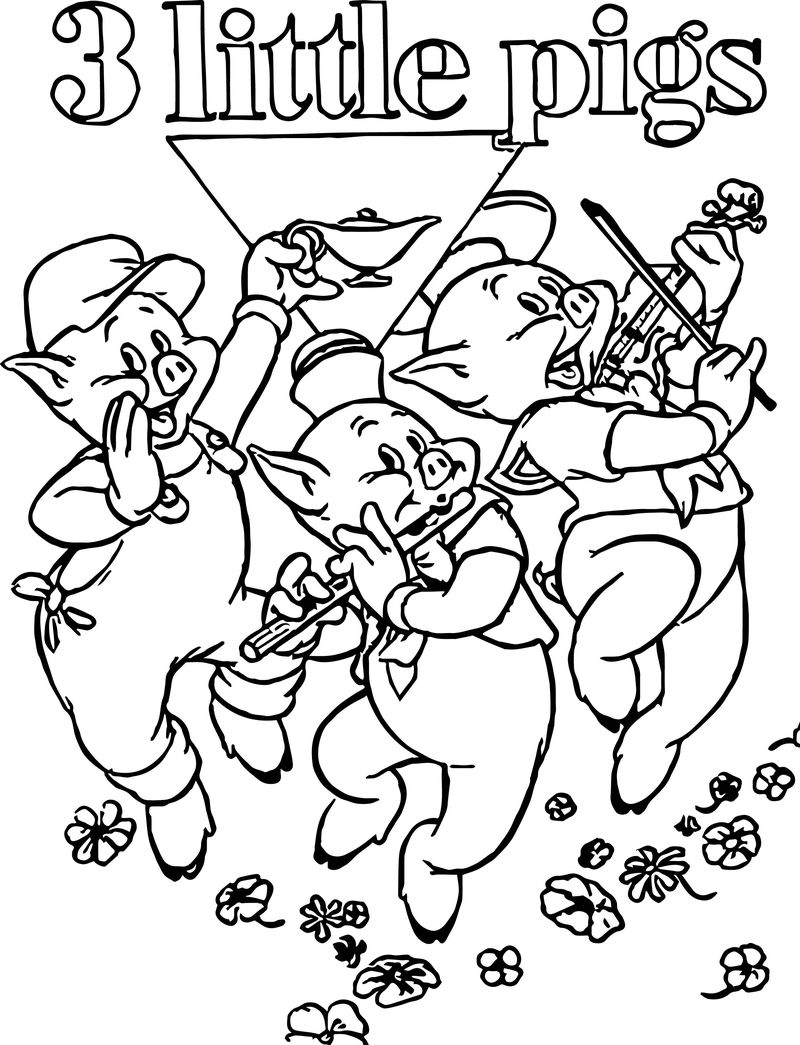 3 Little Pigs Music Coloring Page