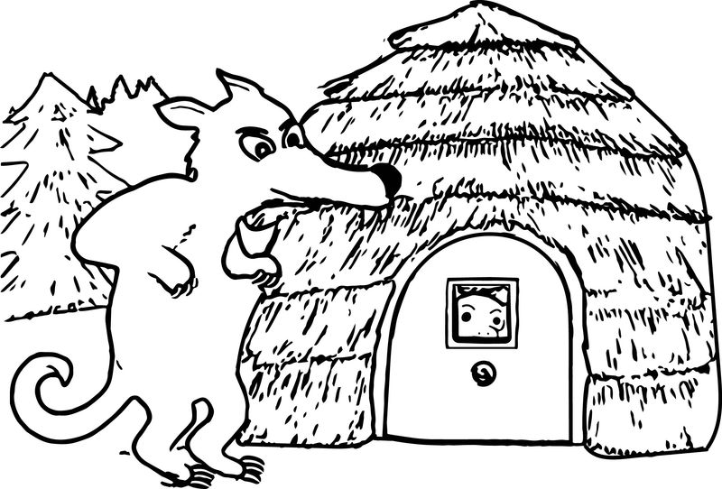3 Little Pigs Wolf Come Coloring Page