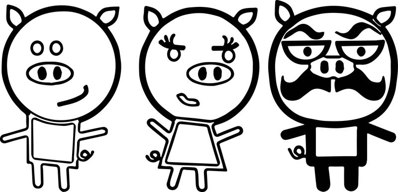 3 Little Small Pigs Coloring Page