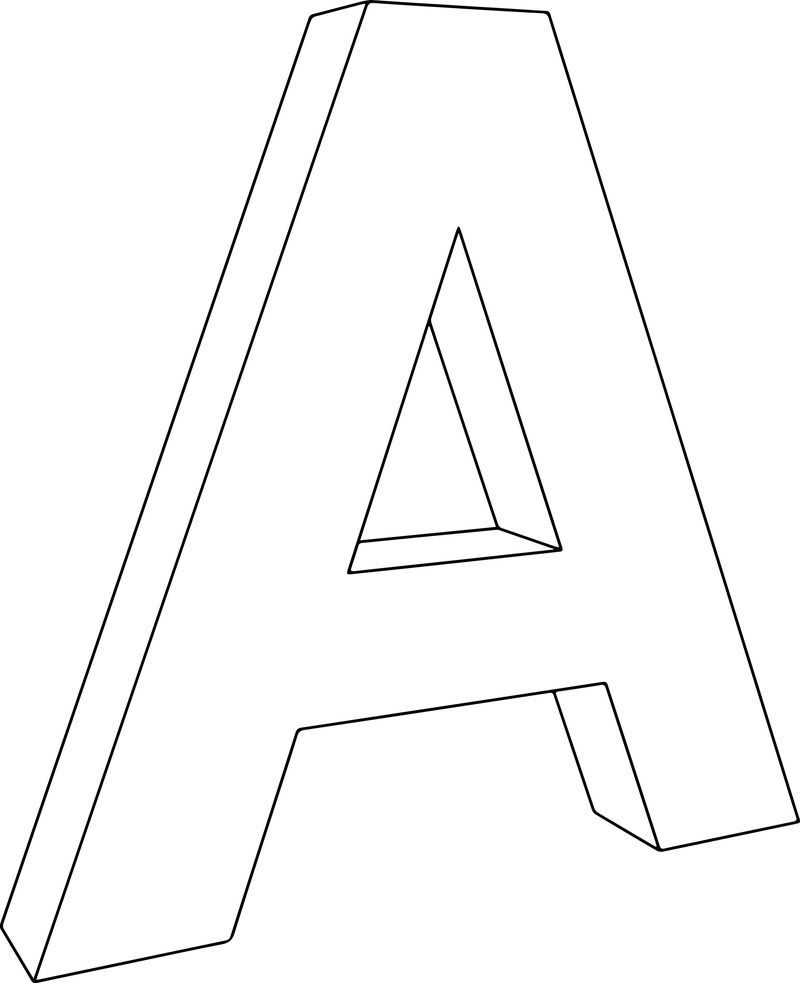 3d A Character Letter Coloring Page