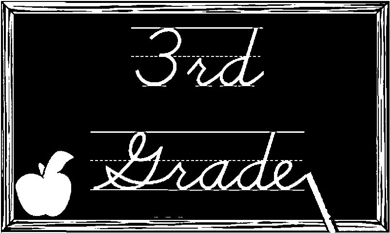 3rd Grade Black Chalkboard Coloring Page