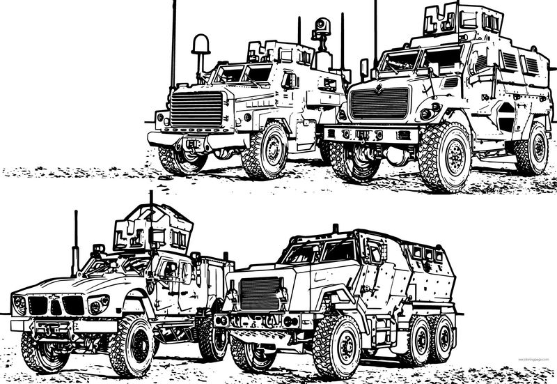 4 Mrap Army Military Vehicle Coloring Page