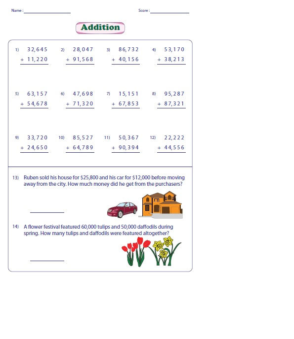 4th Grade Math Worksheets Addition