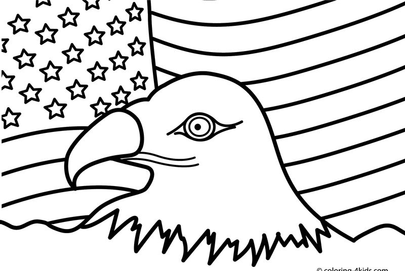 4th July Usa Flag Coloring Page
