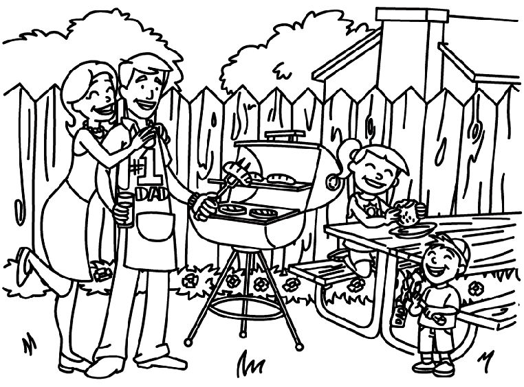 4th Of July Coloring Pages Backyard Bbq