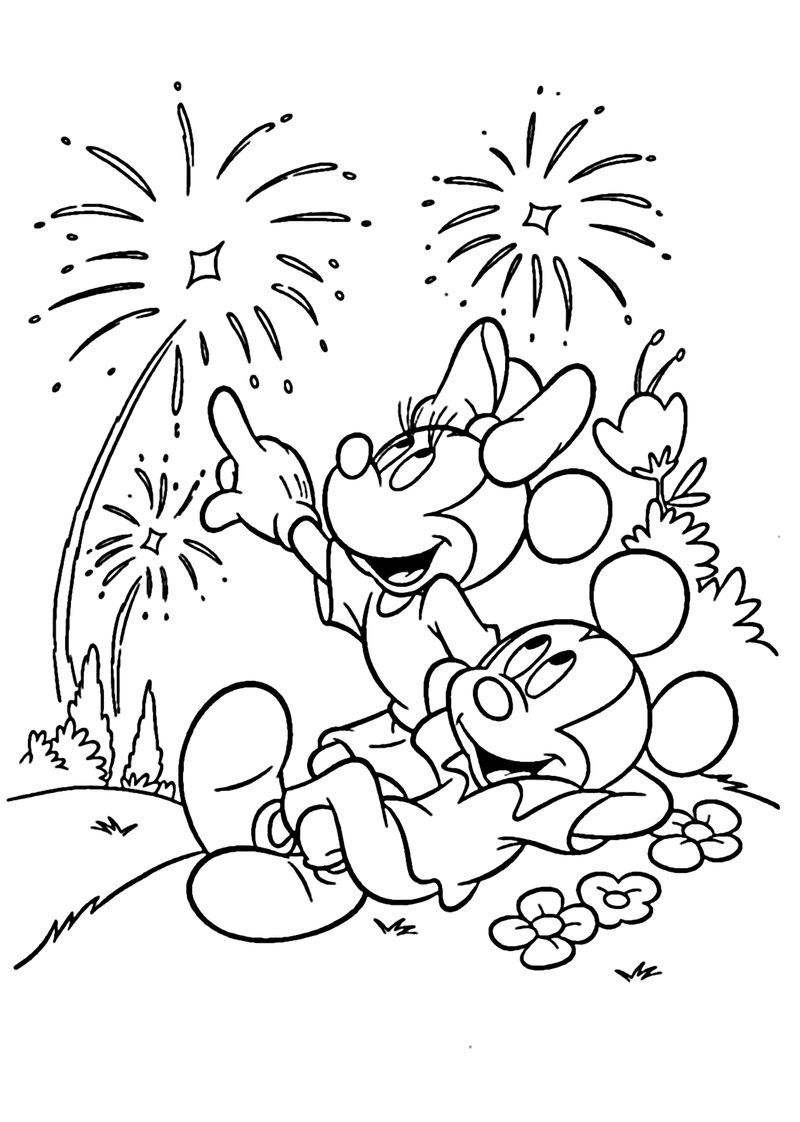 4th Of July Coloring Pages Mickey And Minnie