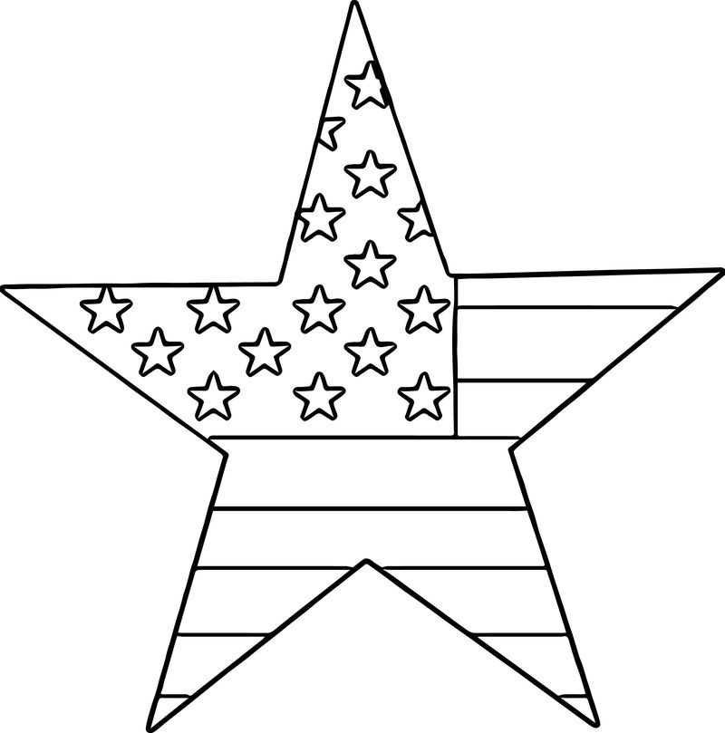 4th Of July Star 4 July Coloring Page