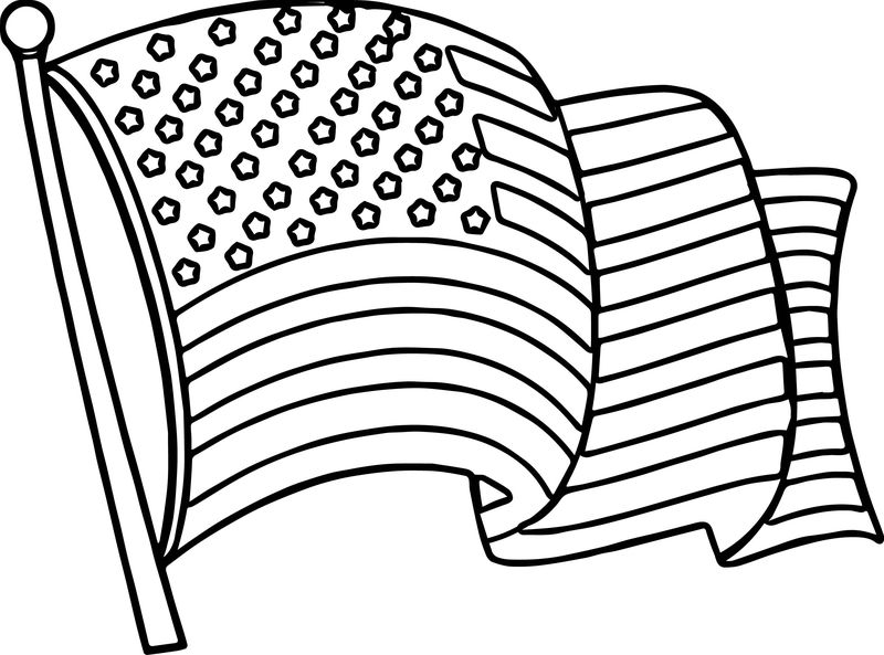 4th Of July Wave Flag Coloring Page