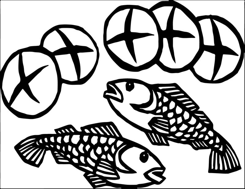 5 Loaves And 2 Fish Coloring Pages