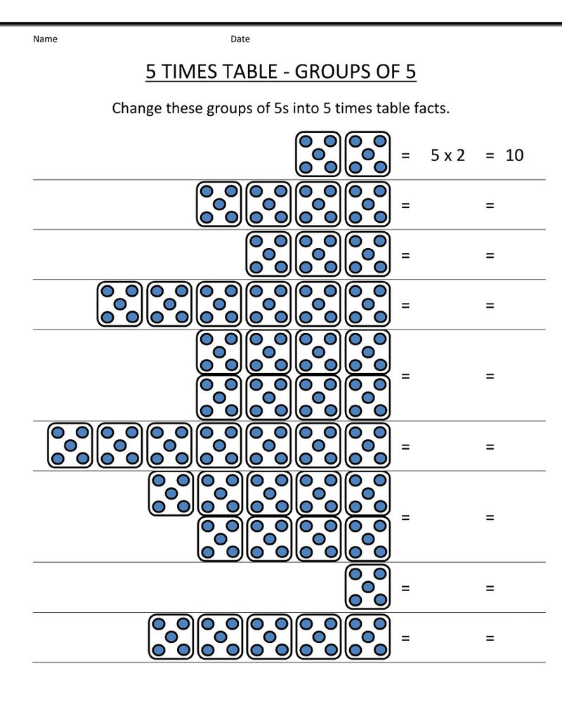5 Times Table Worksheet Free