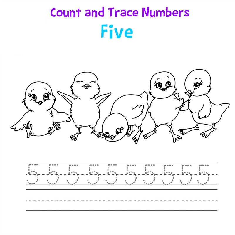 5 Tracing Worksheet Count