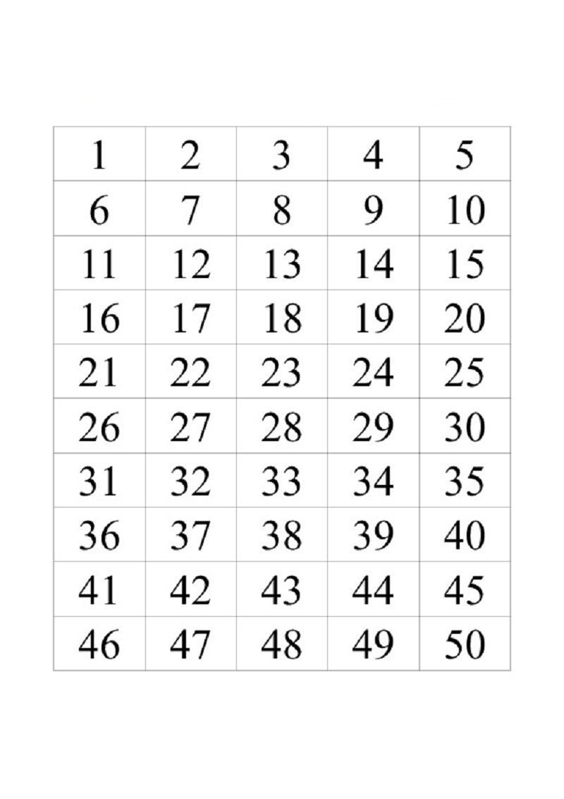 50 Number Chart For Kids