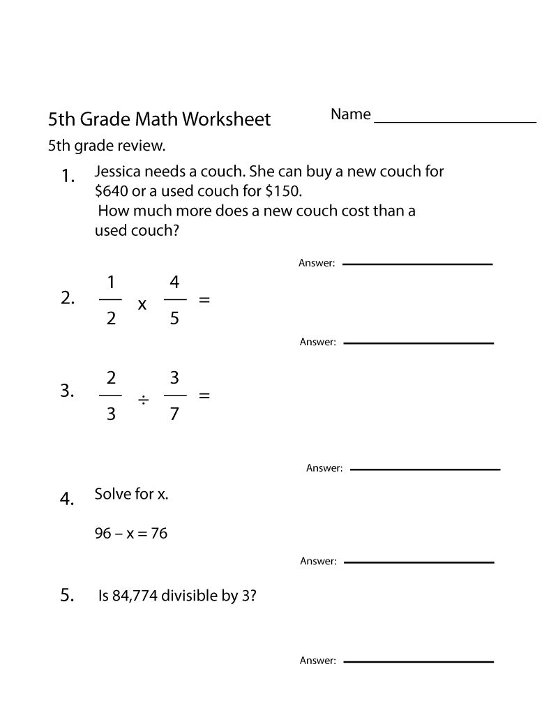 5th Grade Math Worksheets Printable Free