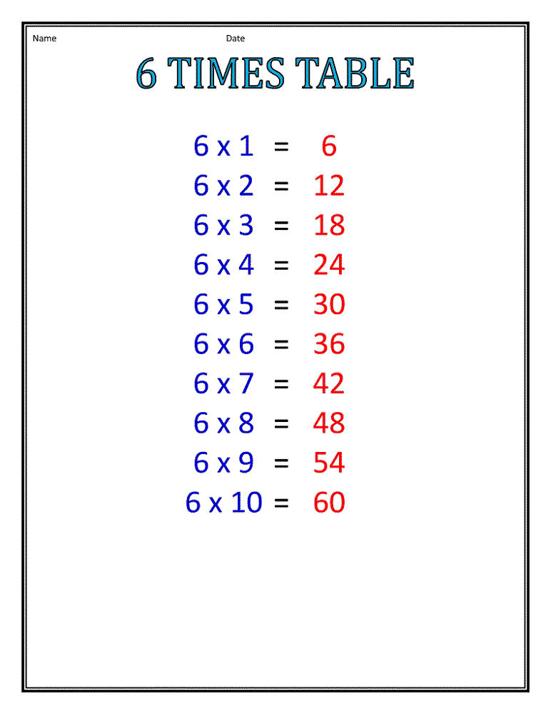 6 Times Table Chart For Beginners