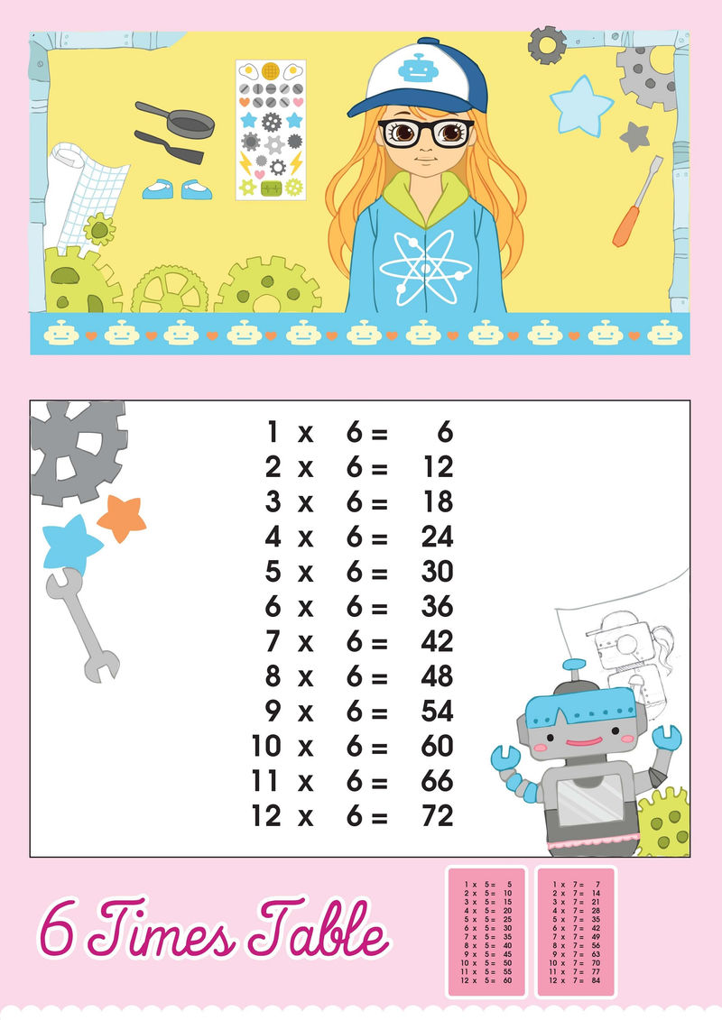 6 Times Table Charts For Girl