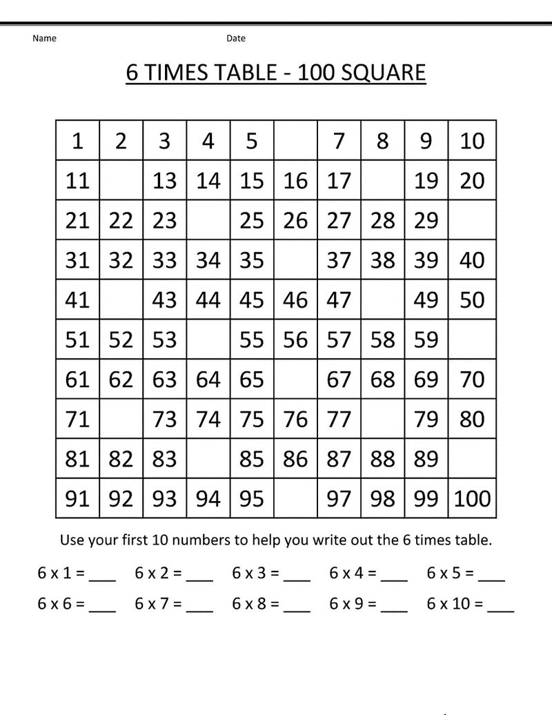 6 Times Table Worksheets Printable