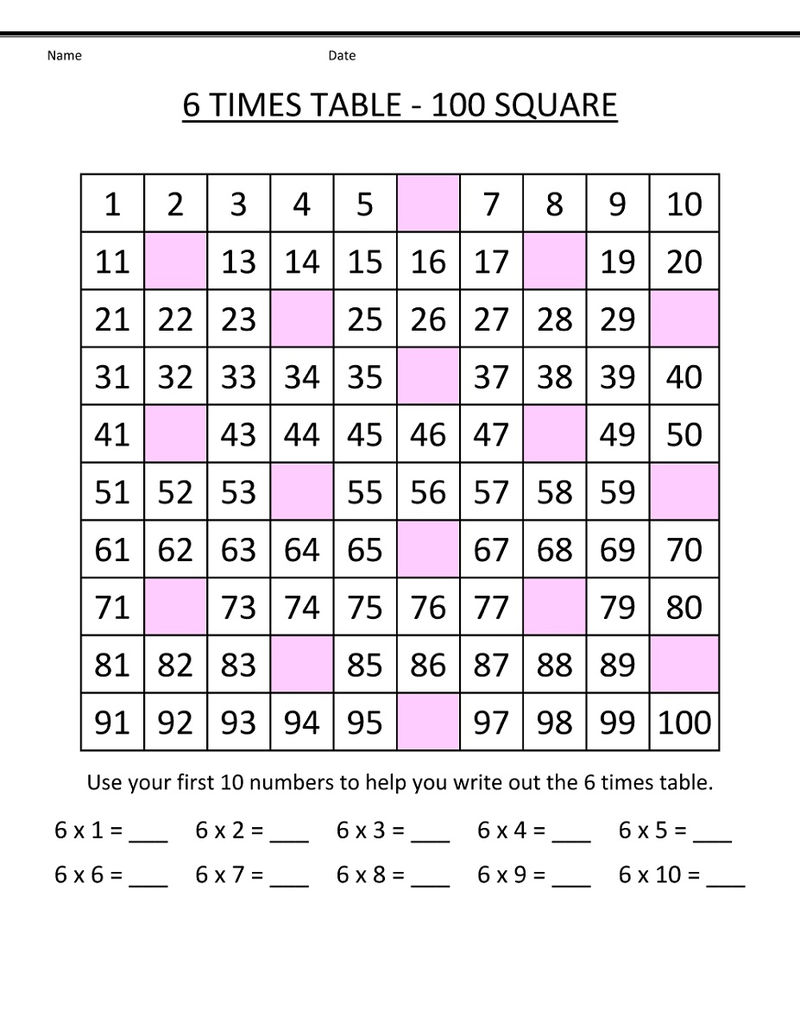 6 Times Tables Worksheets Missing