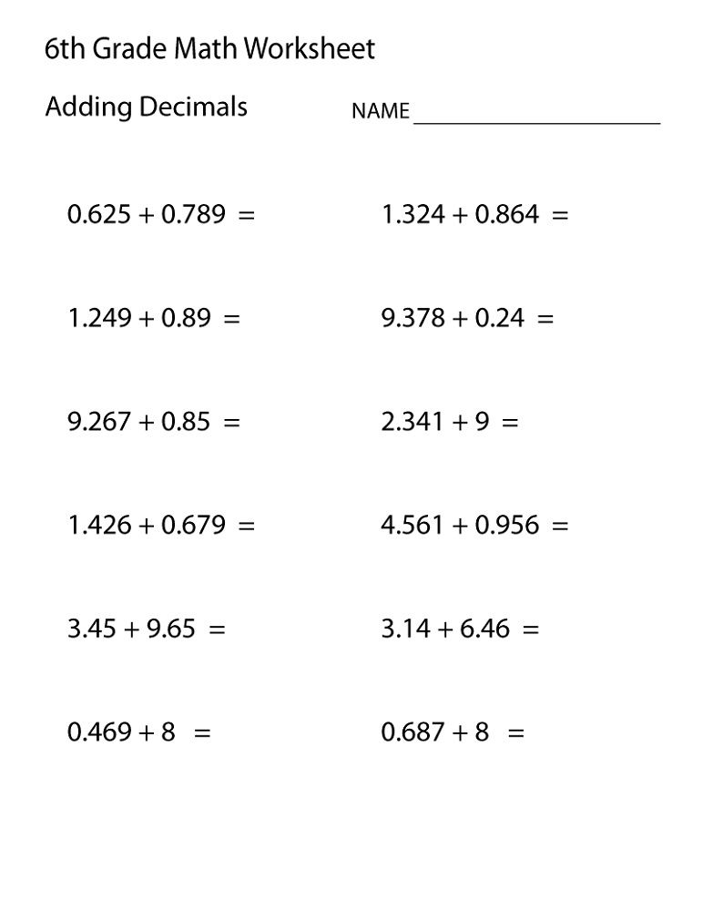 6th Grade Math Worksheets Decimal Math