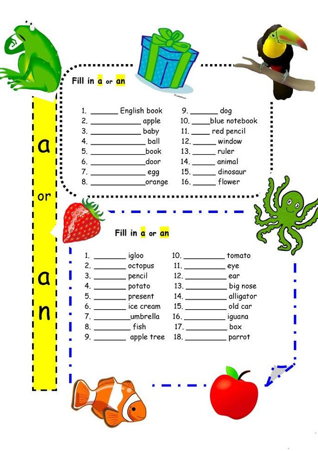 A And An Worksheets Free Printable Children 001