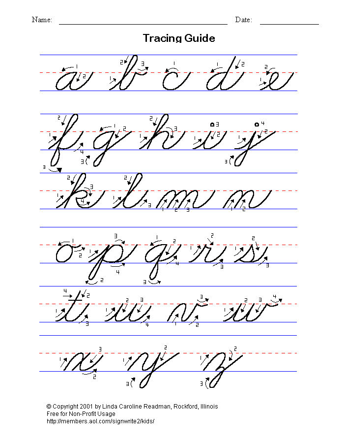 Abc Tracing Sheets Lowercase Cursive
