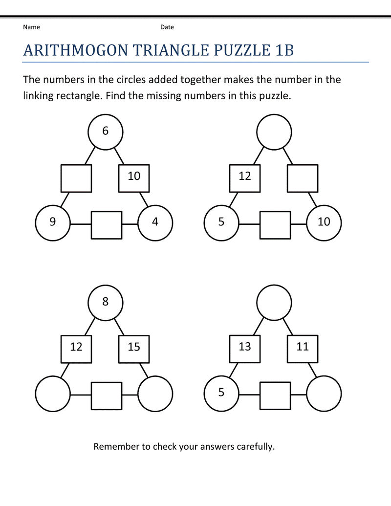 Addition And Substraction Worksheets Puzzle