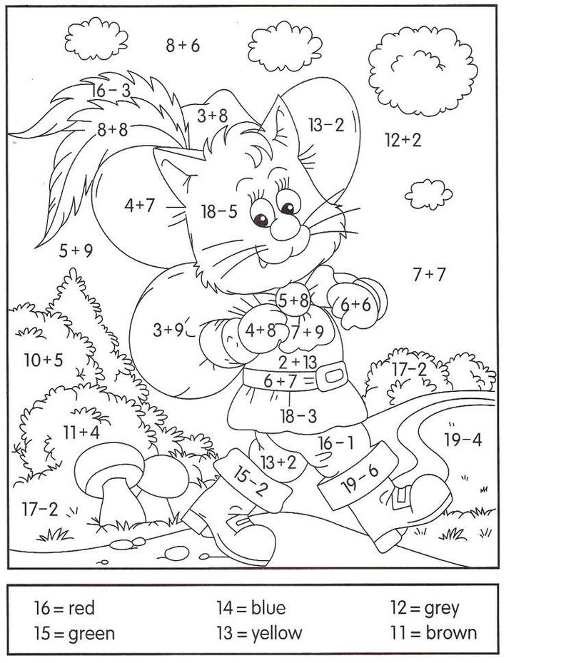 Addition And Subtraction Coloring Worksheets Pdf 001