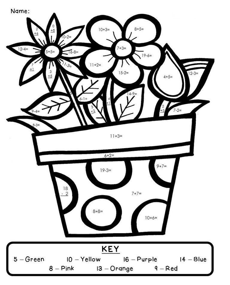 Addition And Subtraction Coloring Worksheets Printable