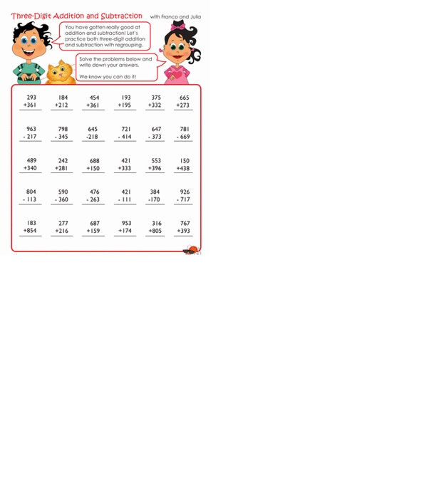 Addition And Subtraction Worksheets 3rd Grade