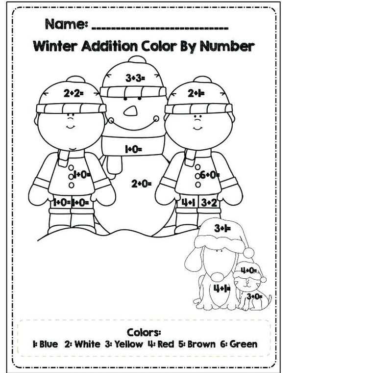 Addition Coloring Worksheets Winter