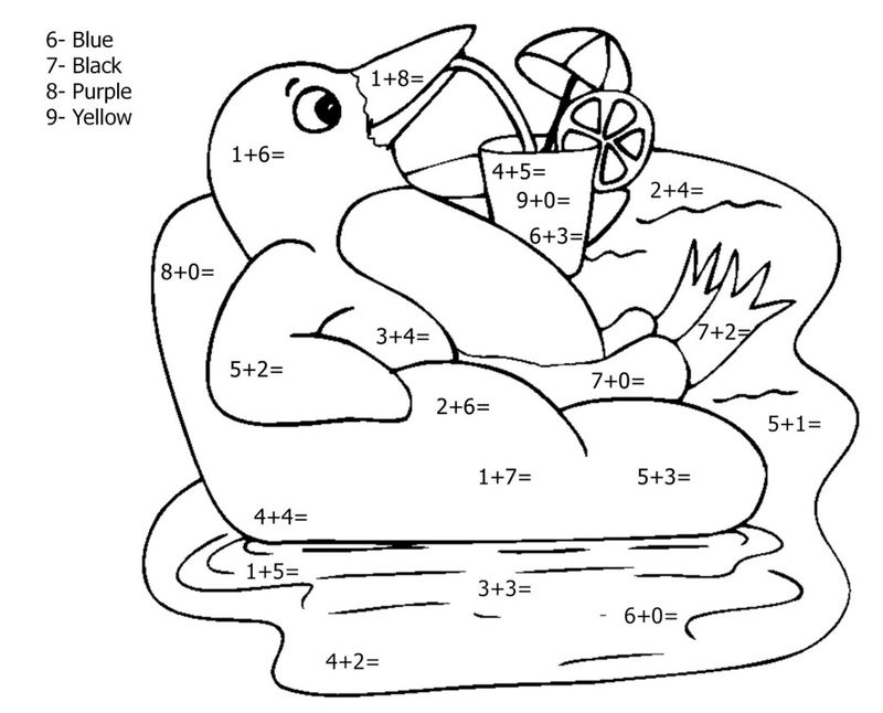 Addition Penguin Math Coloring Pages