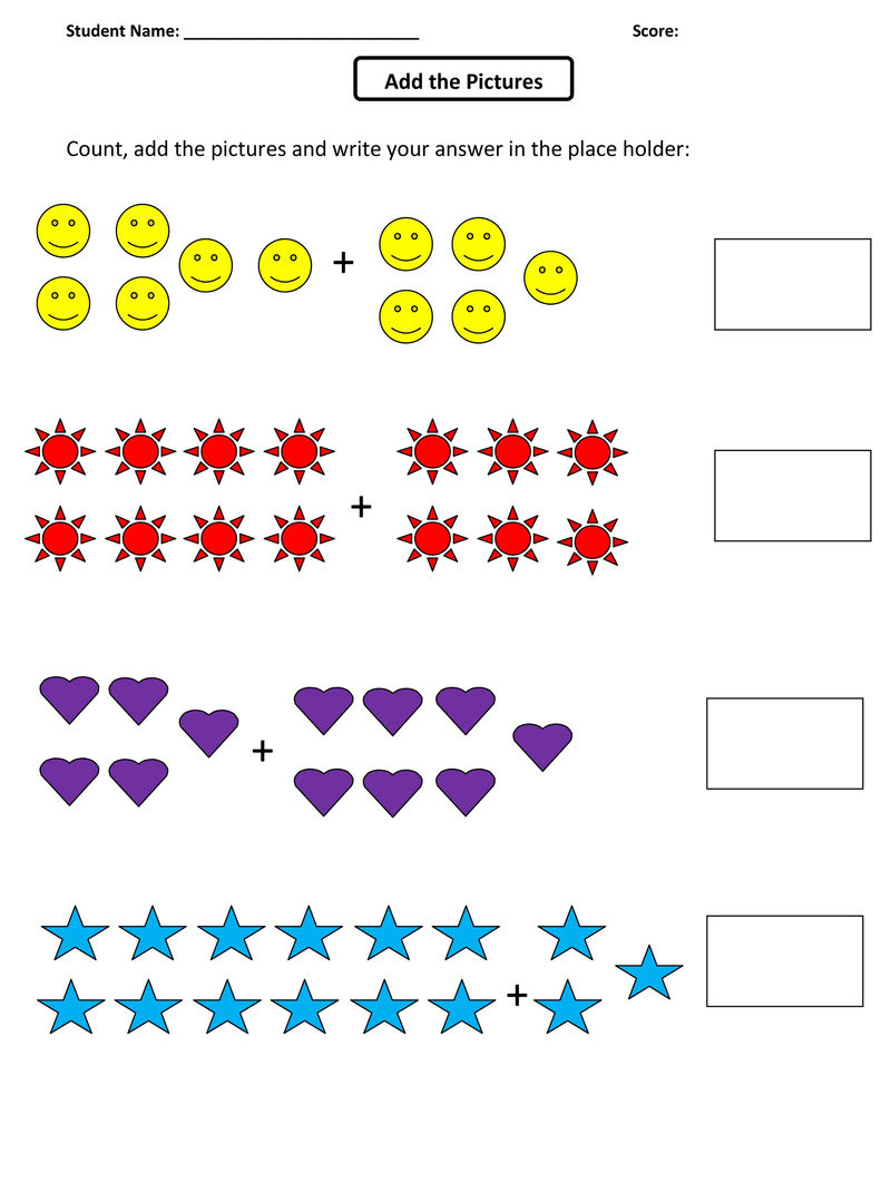 Addition Picture Worksheets Activity 001