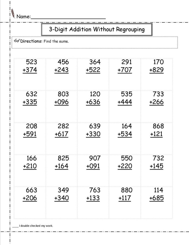 Addition Worksheets 3 Digit With Regrouping 001
