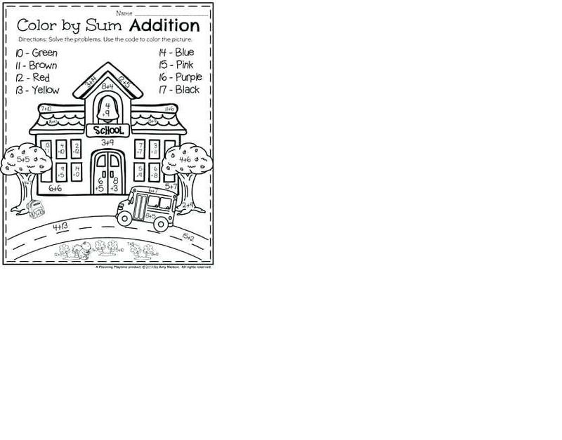 Addition Worksheets Colour By Number