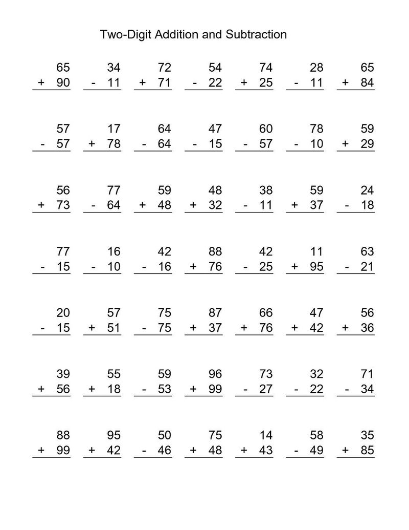 Additions And Subtraction Worksheets Two Digit
