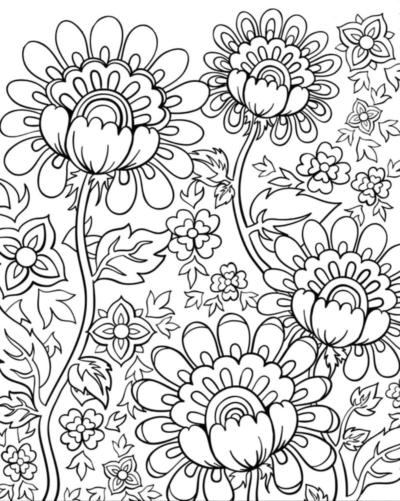 Adult Coloring Pages Doodle Flowers