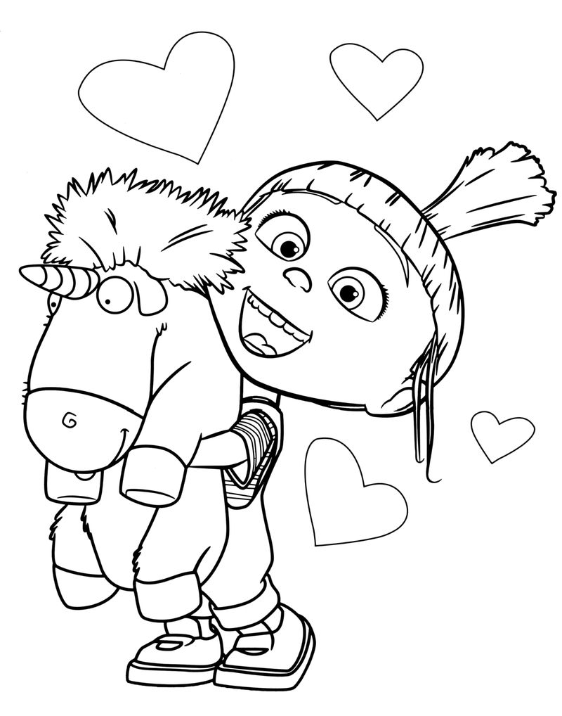 Agnes With Fluffy Unicorn Despicable Me Coloring Pages