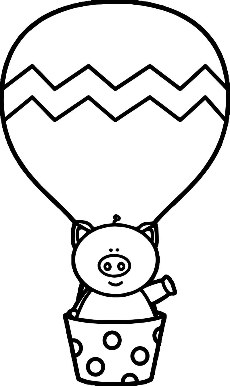 Air balloon in pig coloring page