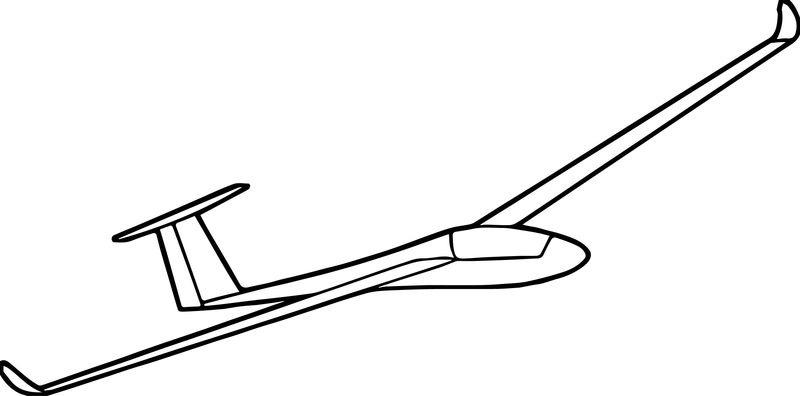 Airfield Gliding Plane Coloring Page