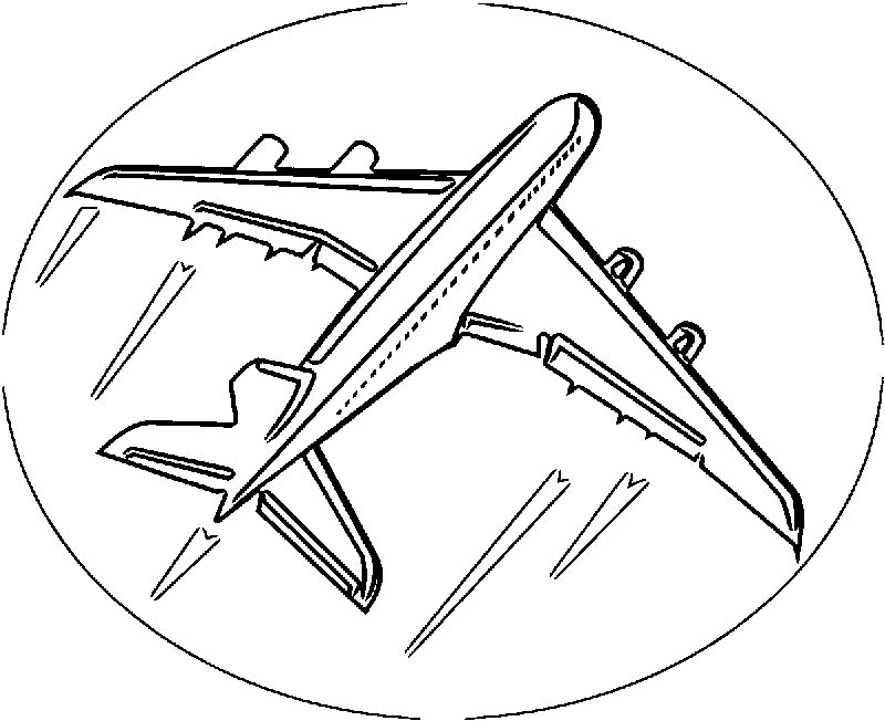 Airplane Circle Sign Coloring Page