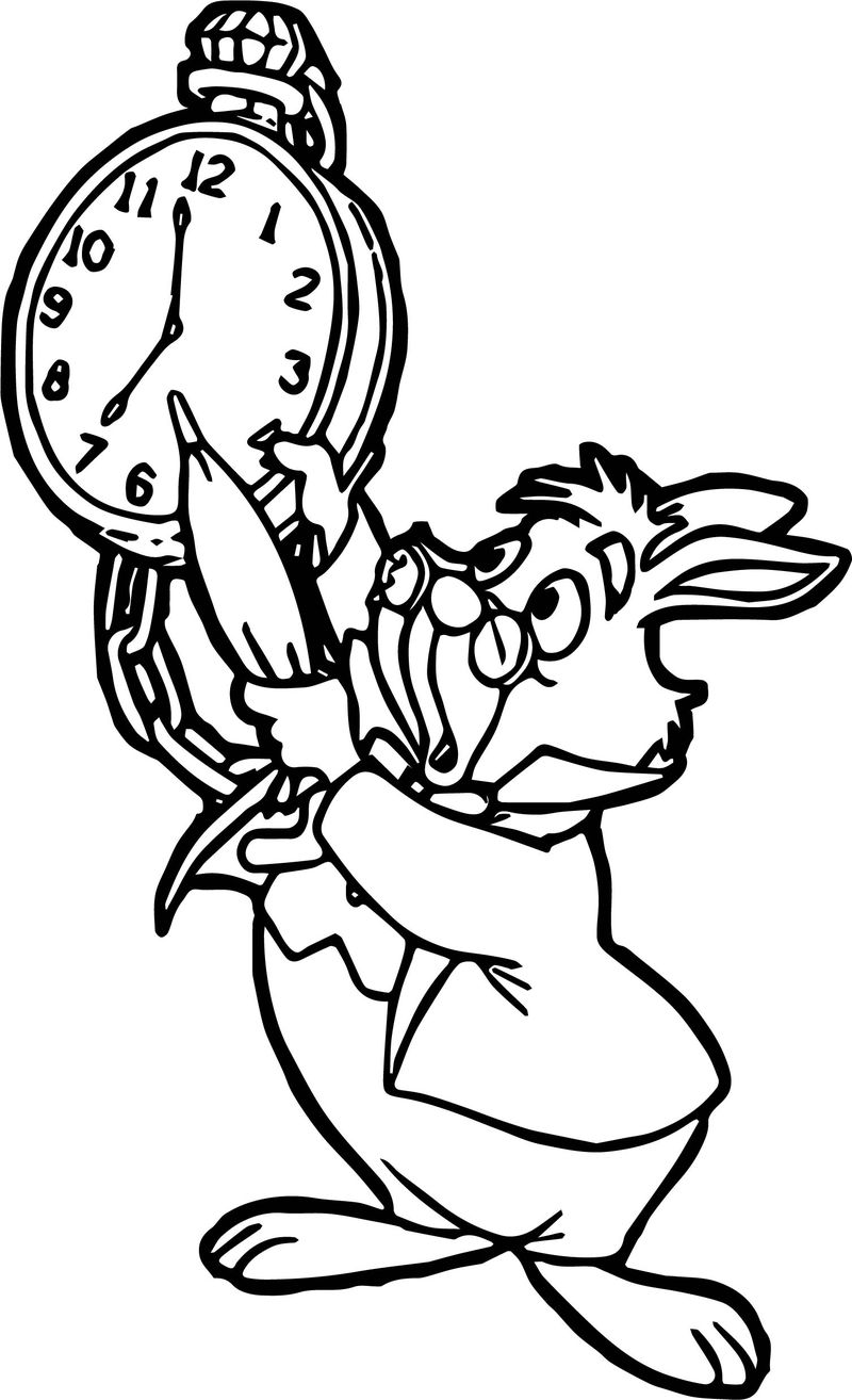 Alice in the wonderland bunny hour coloring page