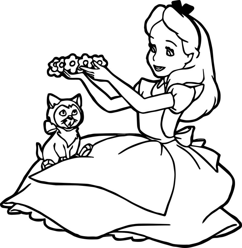 Alice In The Wonderland Cat Flower Hat Coloring Page