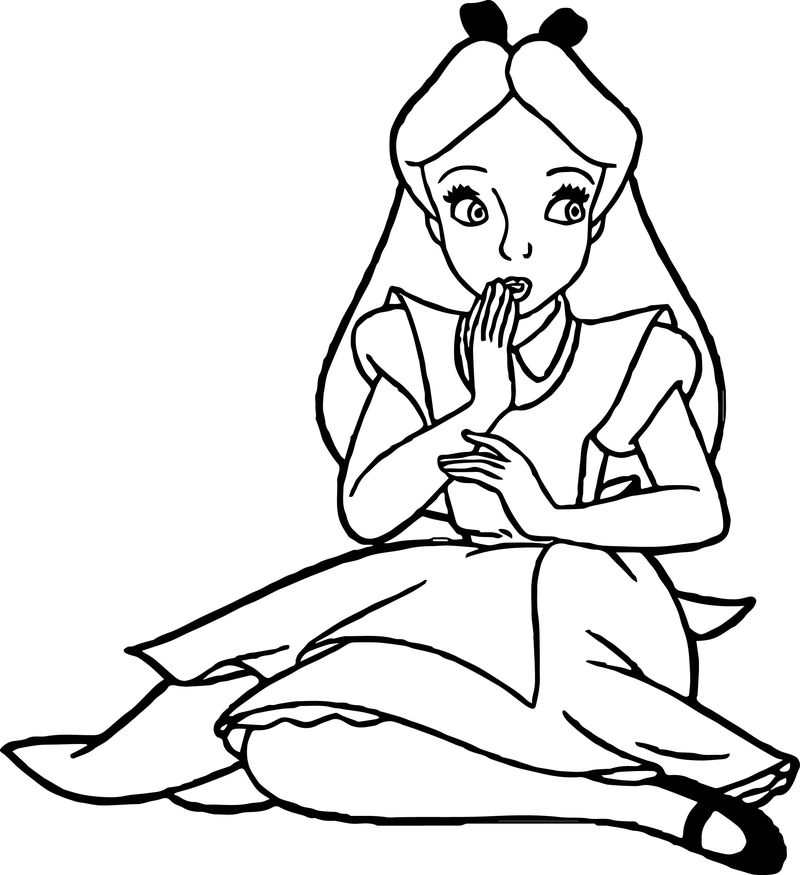 Alice In The Wonderland Oops Coloring Page