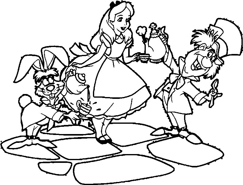 Alice In The Wonderland Tea And Coffee Coloring Page
